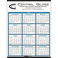 Blue Span-A-Year Calendars, Laminated with Marker