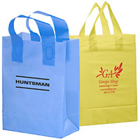 "13"" x 5"" x 10"" Colored Frosted Shopping Bags Ink Imprint"