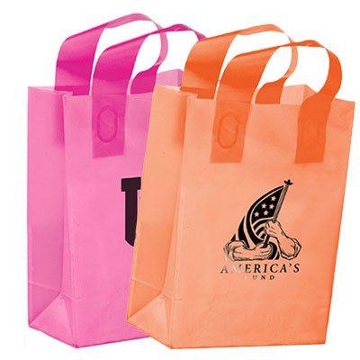 8 x 11 x 4 Colored Frosted Shopping Bags - Ink Imprint