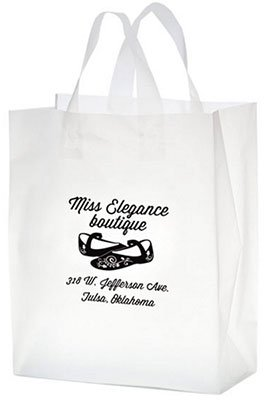 10 x 13 x 5 Frosted Plastic Shopping Bags, Ink Imprint