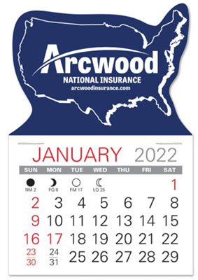 USA Shape Self Adhesive Calendars