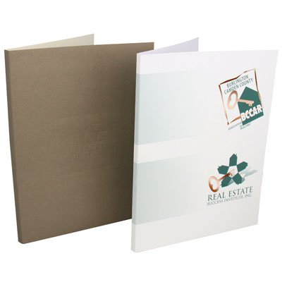"Foil Stamped Box Pocket Folders, 1/2"" Spine"