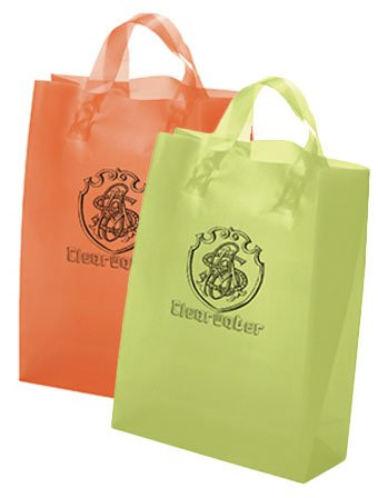 10 x 13 x 5 Frosted Brite Plastic Shopping Bag, Ink Imprint