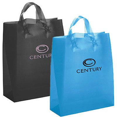13 x 17 x 6 Frosted Brite Plastic Shopping Bag, Ink Imprint