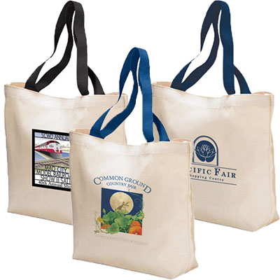 15.50 x 11.50 Canvas Tote Bags with Colored Handles