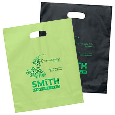 12 x 15 Foil Stamped Die Cut Colored Plastic Bags