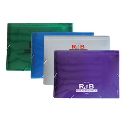 "Plastic 13 Pocket Files, Elastic Closure 13"" x 9-1/2"""