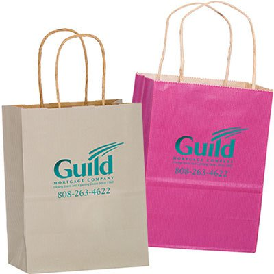 8 x 10.5 Colored Matte Paper Shopping Bags - Foil Stamped