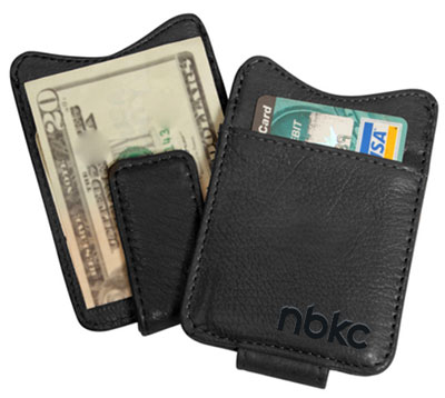 Leather Money Clip Wallet with Magnetic Closure
