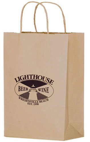 Recycled Kraft Paper Wine Bags with Twisted Paper Handles