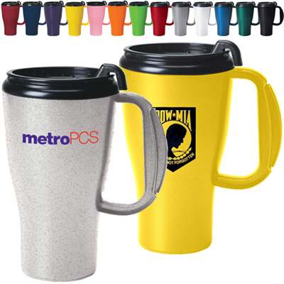 16 oz. Omega Plastic Handled Travel Mugs