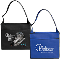 Reusable Convention Tote Bags, Non-Woven Poly Messenger Bags, Ultimate Series, 16 x 14