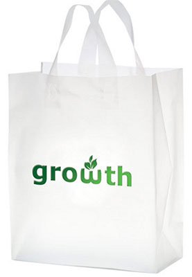 10 x 13 x 5 Frosted Plastic Shopping Bags, Foil Stamped