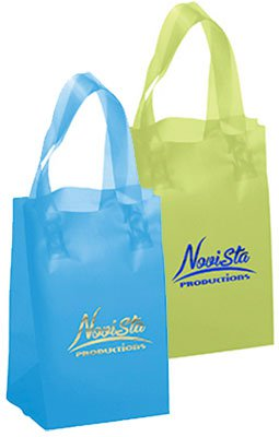 5 x 8 x 3 Frosted Brite Plastic Shopping Bags, Foil Stamped