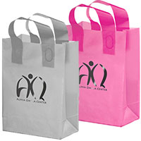 13 x 10 x 5 Colored Frosted Plastic Shopping Bags, Foil Stamped