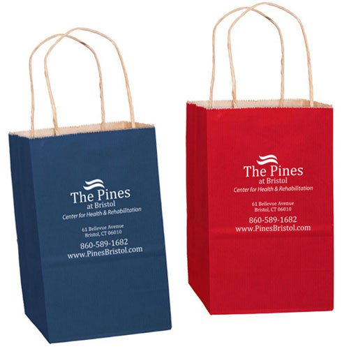 5 x 8 Colored Matte Paper Shopping Bags - Foil Stamped