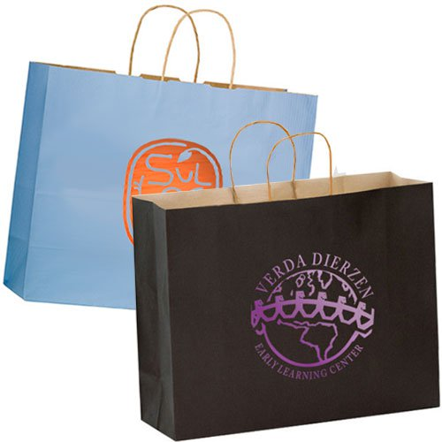 16 x 13 Colored Matte Paper Shopping Bags - Foil Stamped