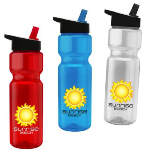 28 oz. Full Color Transparent Bike Bottles w/ Flip Straw Lid
