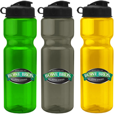 28 oz. Transparent Water Bottles with Flip Lid - Full Color Transfer