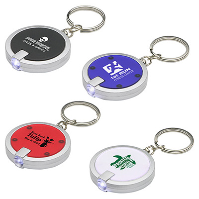 Round Simple Touch LED Key Chains