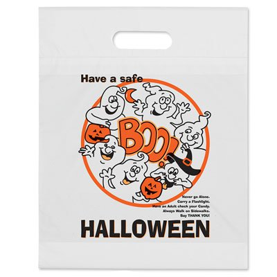 "12 x 15 White ""Boo"" Trick or Treat Halloween Bags"