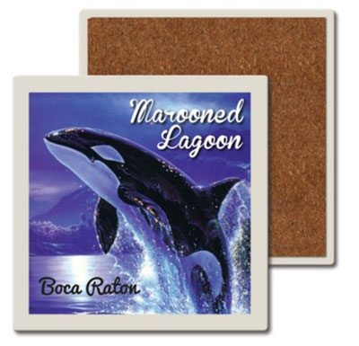 "4.25"" Square Union Printed Absorbent Stone Coasters"