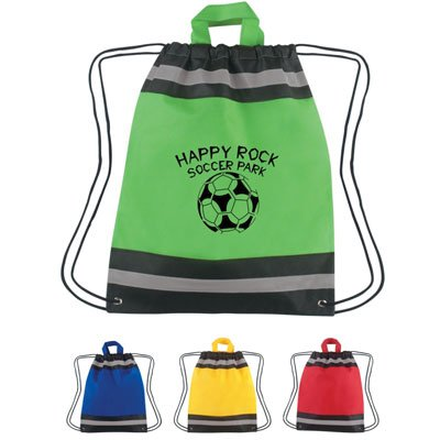 Non-Woven Drawstring Bags with Reflective Stripes