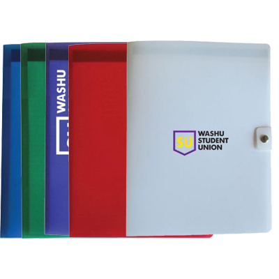 "Plastic Pad Folios with Snap Closure, 9-1/8""W x 12-1/4"""