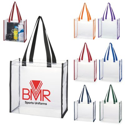 12 x 12 Thrifty Clear Stadium Tote Bags with Colored Handles