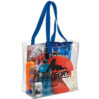 12 x 12 Clear Stadium Tote Bags with Colored Handles