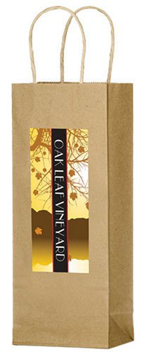Brown Kraft Paper Wine Bags - Full Color