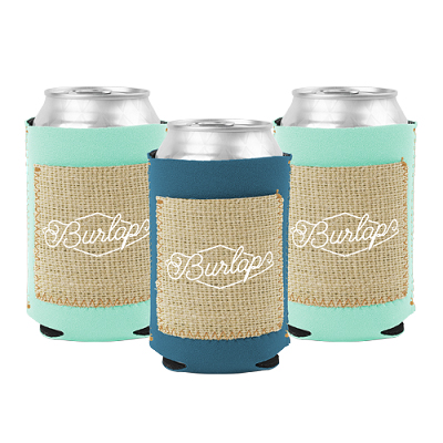 Neoprene Can Holders with Burlap Pocket