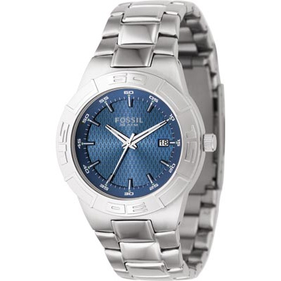 Fossil Men's Sport Watch with Blue Dial and Silver Bracelet