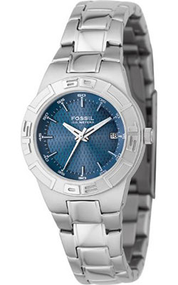 Fossil Women's Sport Watch with Blue Dial and Silver Bracelet