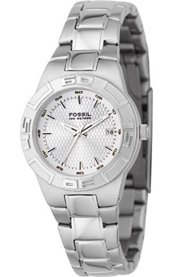 Fossil Women's Watch with Textured Dial and Silver Bracelet