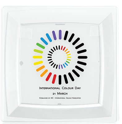 "8.25"" Square Milan Plastic Plates - Full Color"
