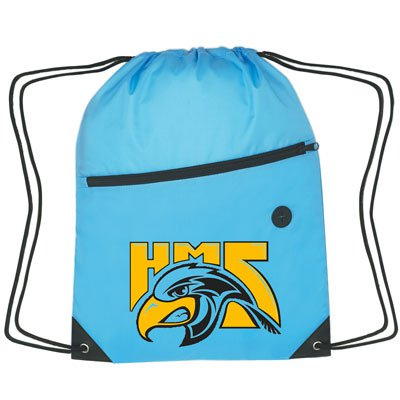 Polyester Drawstring Bags with Front Zipper