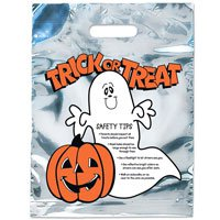 11 x 15 Ghost Design Silver Reflective Halloween Bags