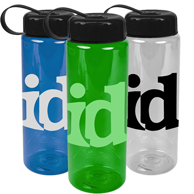 32 oz. Transparent Sports Bottles with Tethered Lid
