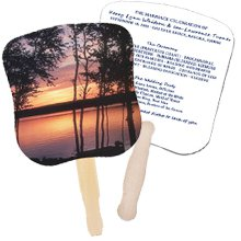 Church Hand Fans - Water Sunset Design