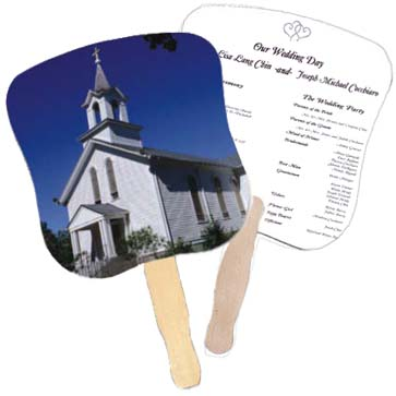 Church Hand Fans - White Church Design