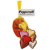 Chocolate Hearts, Individually Wrapped in Mesh Bag, Kosher