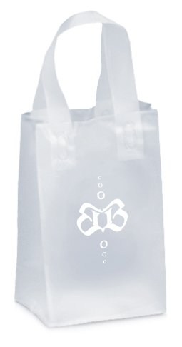 5 x 8 x 3 Frosted Plastic Shopping Bags, Foil Stamped