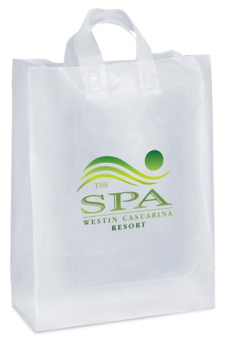13 x 17 x 6 Frosted Plastic Shopping Bags, Foil Stamped