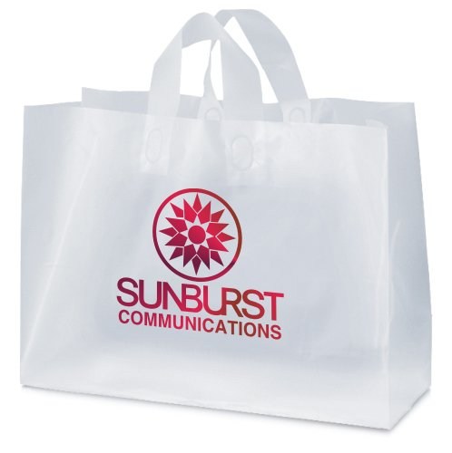 16 x 12 x 6 Frosted Plastic Shopping Bags, Foil Stamped