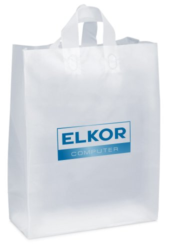 16 x 19 x 6 Frosted Plastic Shopping Bags, Foil Stamped