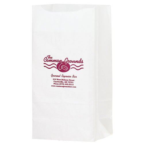 6 x 13.25 White Kraft Paper Grocery Bags