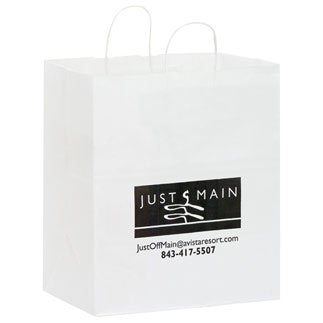 14.5 x 16.25 White Kraft Paper Carry Out Bags