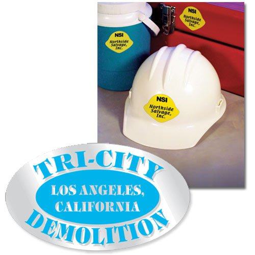 "3"" x 1.75"" Oval Shaped Hard Hat Decals"