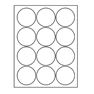"2.5"" Circle Laser Label Sheets 12-Up"